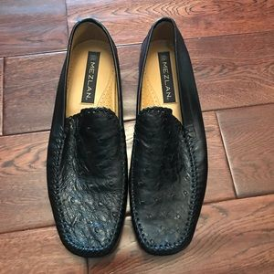 Mezlan Genuine Ostrich Leather Black Loafer Spain